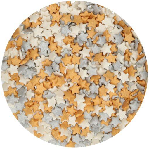 Mix mini confetti-Stelute aurii/argintii/albi- 60 gr -Funcakes