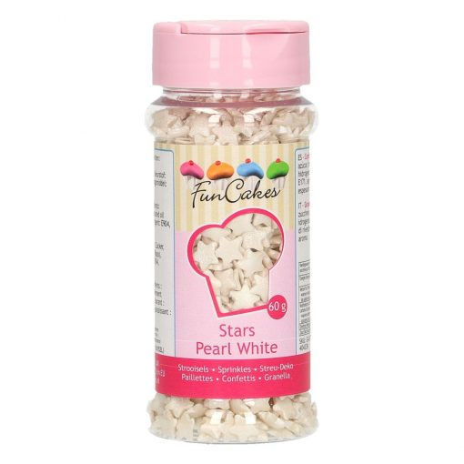 Mix mini confetti-STARS WHITE PEARL 60G-Funcakes