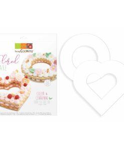 Set de 2 sabloane din plastic alimentar - Inima si Cerc- Ø 24 cm-Scrapcooking