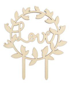 Topper pentru tort-Wood Love-12,5 x 11 x 0,2 cm-Scrapcooking