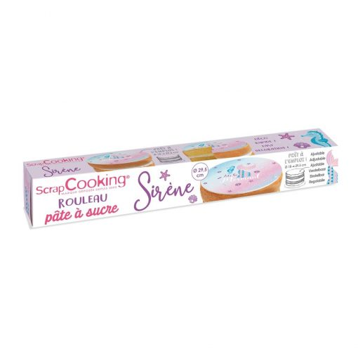 Pasta de zahar gata rulat pentru tort-Sirena-Ø18 - 29,5cm-Scapcooking