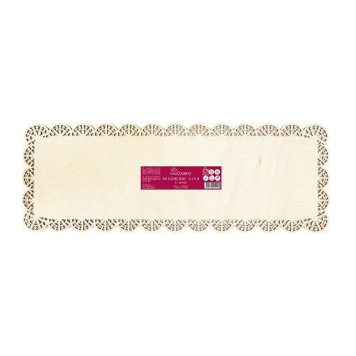 Platou dreptunghiulara din lemn cu dantela-36X13CM-Scrapcooking