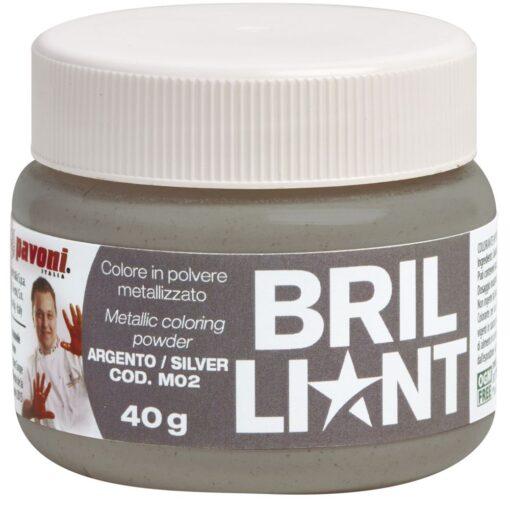 Colorant Alimentar Pudra efect perlat și strălucitor , Argintiu , 40 gr - Pavoni
