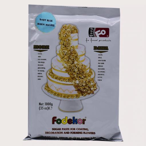 Pastă de zahăr pentru acoperire, decor și flori - ALBASTRU DESCHIS - 1KG - FODEKOR