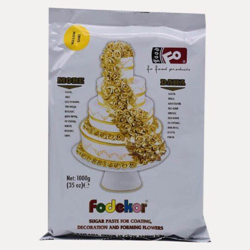 Pastă de zahăr pentru acoperire, decor și flori - GALBEN - 1KG - FODEKOR