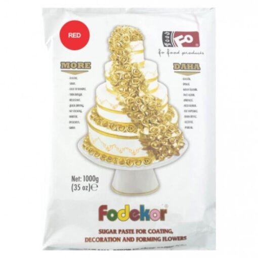 Pastă de zahăr pentru acoperire, decor și flori - ROSU - 1KG - FODEKOR
