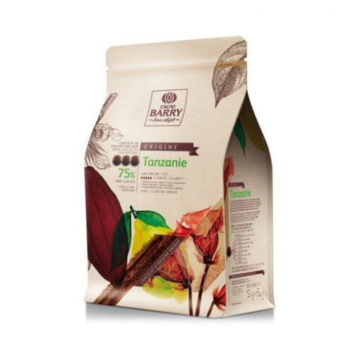 Ciocolata neagra TANZANIA cacao 75%, 2.5kg - CACAO BARRY