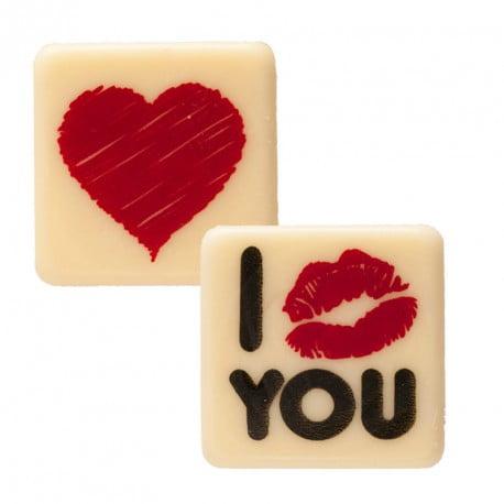 Set 135 decor din ciocolata, I Love You , 29 x 29 mm - DeKora