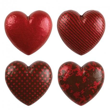 Set 28 Inimioare din ciocolata alba ,rosu ,4 modele ,33 x 30 MM-DeKora