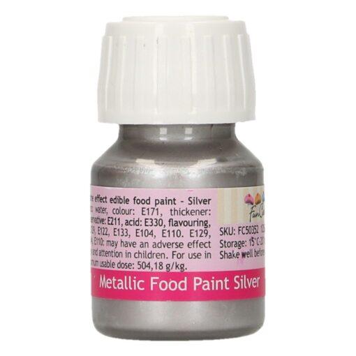 Colorant alimentar cu efect metalic - SILVER - 30 ml -Funcakes
