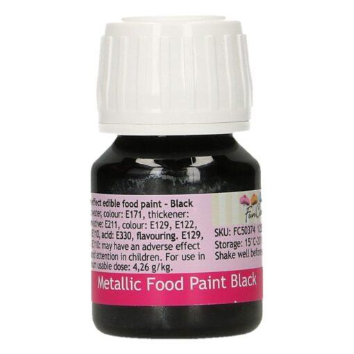 Colorant alimentar cu efect metalic - BLACK - 30 ml -Funcakes