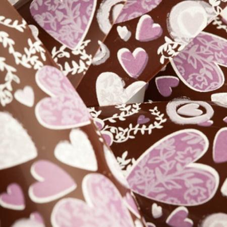 Set 30 Folii Transfer 34x26cm - Decor Ciocolata 3 culori, Inimioare - Pavoni