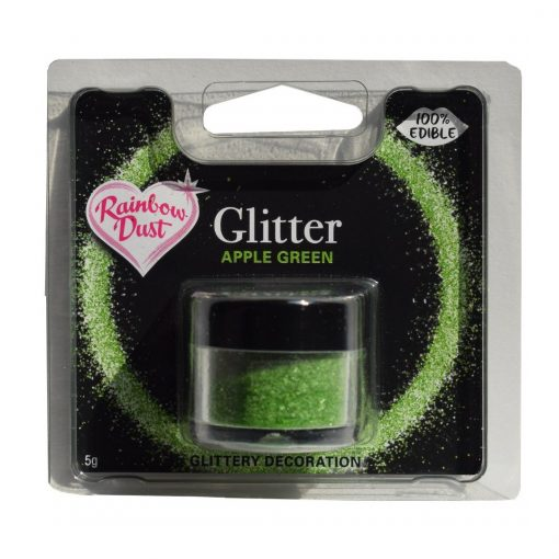 Sclipici decorativ comestibil -APPLE GREEN-5 gr-Rainbow Dust