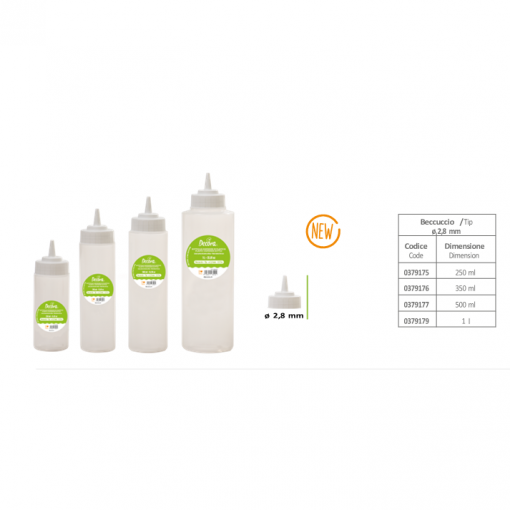 Flacon plastic pentru glazura/sosuri cu capac -500 ml -Decora