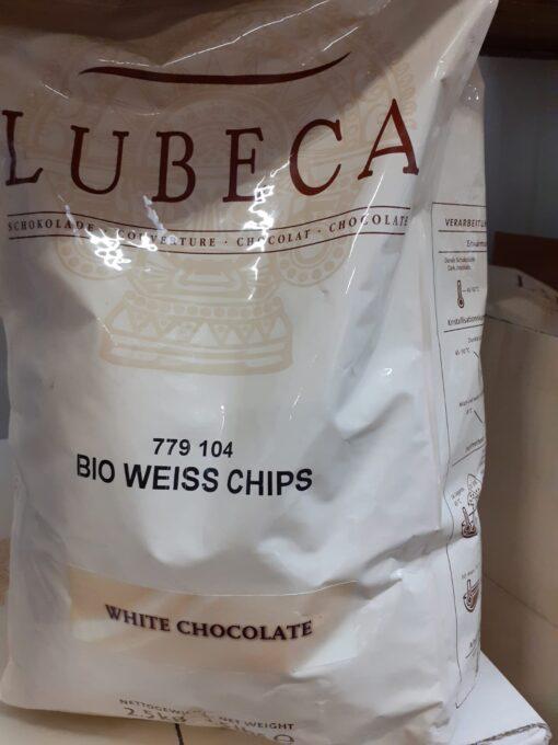 BIO WEISS CHIPS - Ciocolata BIO alba 2,5 kg - Lubeca