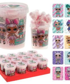 Vata de zahar roz cu stickere colorate - 30 gr-Dekora