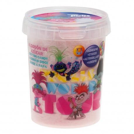 Vata de zahar roz cu stickere colorate TROLLS - 30 gr-Dekora