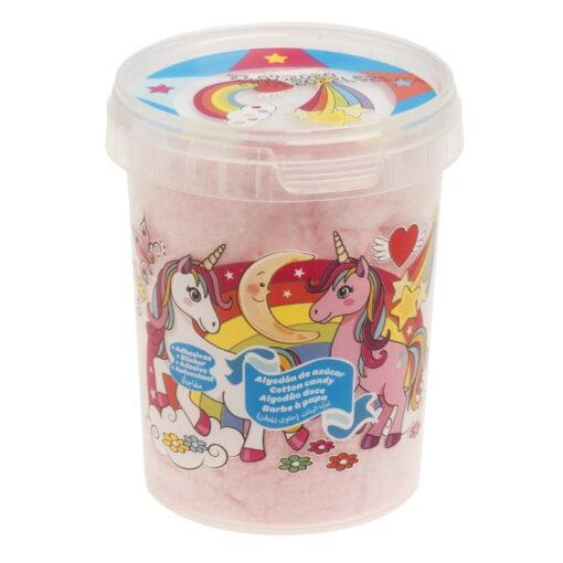 Vata de zahar roz cu stickere UNICORN - 30 gr-Dekora