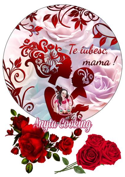 Imagine Comestibila - Te Iubesc Mama,rosu - Anyta Cooking