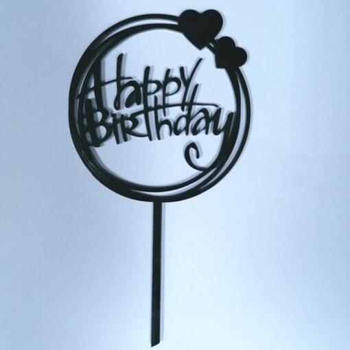 Topper Tort Happy Birthday Rotund,Negru ,Plastic - Anyta Cooking