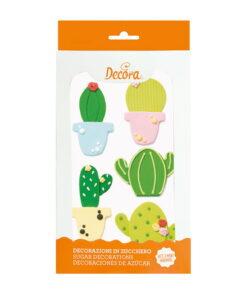 Set 5 buc Decor comestibil din zahar - CACTUS- 3,5 - 4 - 5 cm - Decora
